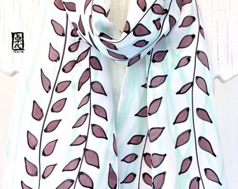 Silk Scarf Handpainted, Gift for her, Birthday Gift, White Silk Scarf, Brown and Green Leaves Scarf, Silk Scarves Takuyo, 11x60 inches.