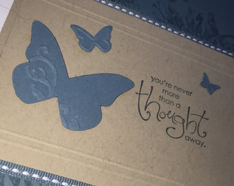 Handmade Stamped Butterfly Greeting Card--Thinking of You