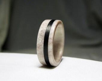 Deer Antler Ring - Bone Ring With Carbon Fiber Inlay