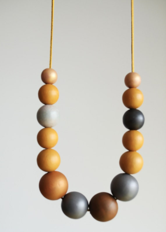 Mustard yellow wood necklace dark grey large wood by for Mustard colored costume jewelry