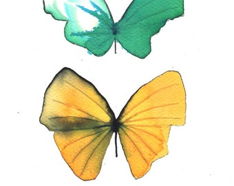 """butterfly duo, green and yellow 8 X 10"""" original watercolour painting"""