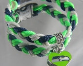 "SEATTLE SEAHAWKS paracord bracelet with logo charm-6.5-7.5"""