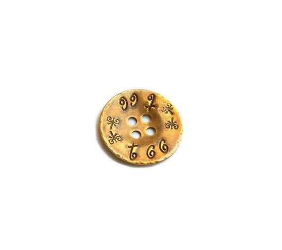 Personalized Button.  Rustic, Solid Brass, Round, Metal, Hand-Stamped Notion. Rustic Sewing Accessory/Embellishment. Knitwear Branding