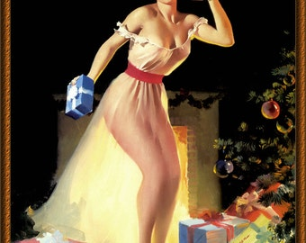 "Vintage Pin-Up "" A Christmas Eve"" by Gil Elvgren 1950s ~ NEW 8x10 Art Print Reproduction"