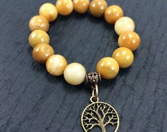 Gold Quartzite Bracelet, Gemstone Stretch Bracelet, Tree of Life Bracelet, Tree of Life Stretch Bracelet, Tree of Life Gemstone Bracelet