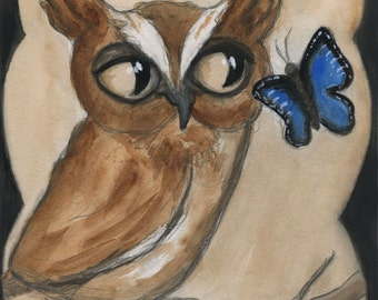 Victorian Owl, Owl Illustration, Art Print (6x8) Blue Butterfly, Screech Owl, Victorian Home decor