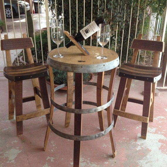 Wine barrel bistro table by fallenoakdesigns on etsy for 1 2 wine barrel table