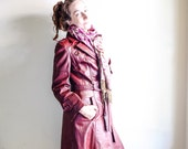 Etienne Aigner Ox Blood Red Vintage Long Trench Leather Detective Style Spy Coat Winter Womens Small Medium