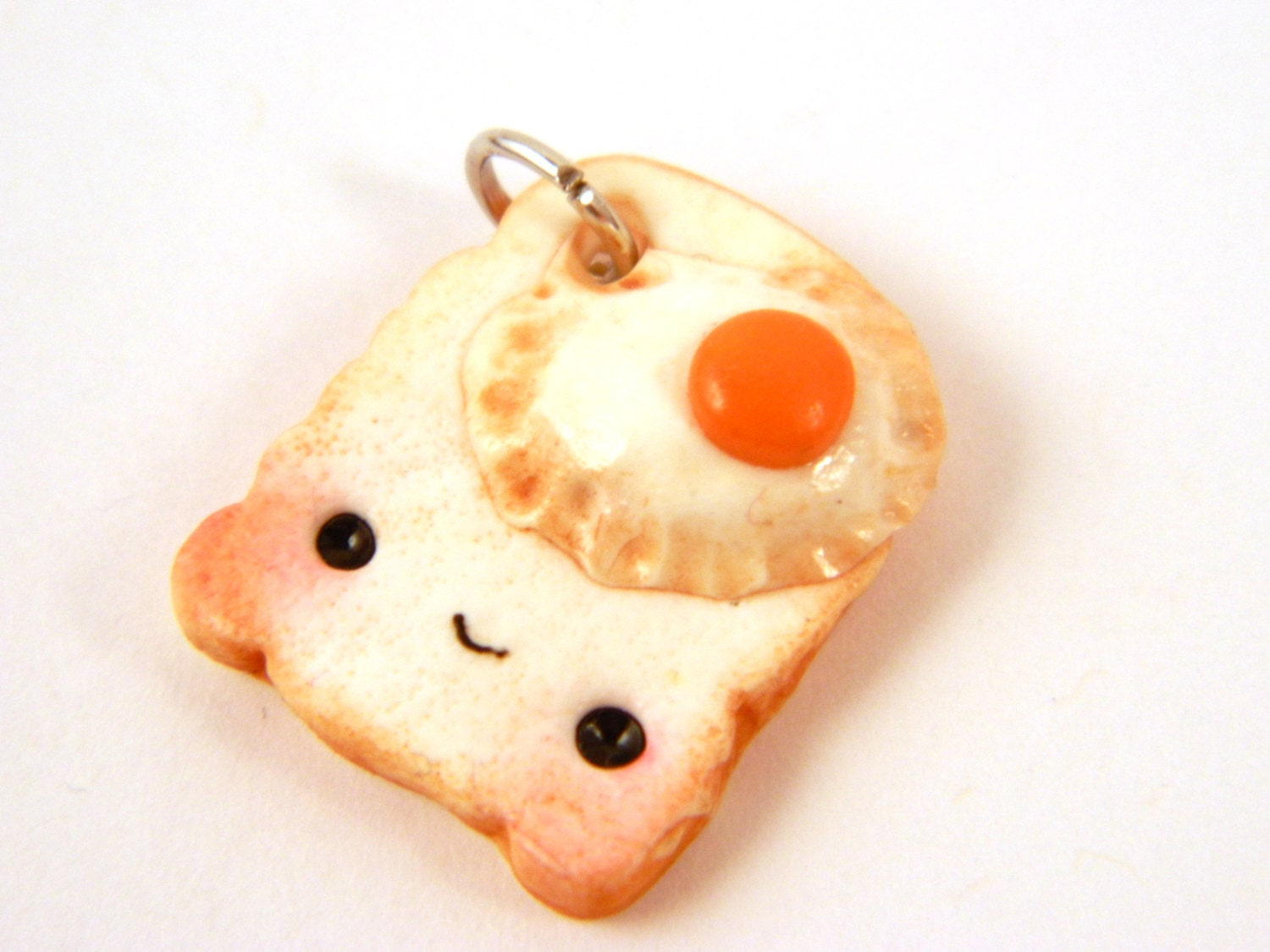 Polymer Clay Fried Egg Toast Charm , Clay Bread Charm , Kawaii Toast Charm , Bread Charm , Egg Toast Charm , Kawaii Bread Jewelry
