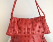 Vintage Brio Candy Apple Red Perforated Leather Shoulder Bag with Fold Over Top