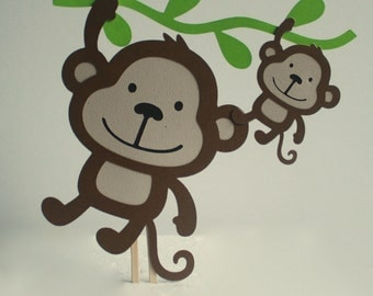 Mom and Baby Monkey Baby Shower Cake Topper
