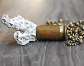Fossil Coral Bullet Necklace
