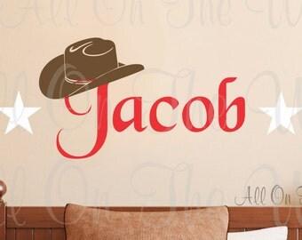Cowboy Wall Decal Boy Name Cowboy Hat Western Decor Kids Bedroom Teen Baby Nursery Girl Wall Stickers Vinyl Lettering