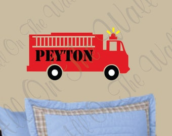 Fire Truck Vinyl Wall Decal Boy Name Nursery Decor Fireman Vinyl Lettering Kids Bedroom Decals Personalized Custom Wall Stickers