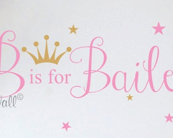 Princess Wall Decal Crown Wall Decals Nursery Baby Girl Name Wall Sayings Stars Bedroom Decor Children Kids Toddler Wall Stickers