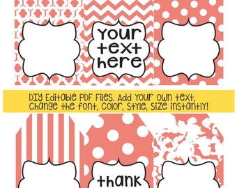Coral gift tags; DIY add your own text; instant edit & print gift tags; gift tag; polka dot; stripe; patterned gift tag; printable gift tag
