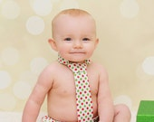 Christmas Diaper Cover and Tie Set Birthday Cake Smash Newborn Photo Prop Baby Boy Little Man Holiday Red Green Polka Dots on White