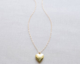 Small Brass Heart Locket Necklace, Engraved Heart Locket Necklace,  - 1322