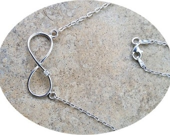 Genuine Diamond Infinity necklace - in Sterling Silver or Gold