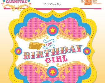 Circus Birthday Girl Chair Sign - Pink Vintage Carnival Party Sign - DIY - Do-It-Yourself Printables - Instant Download Printable Chair Sign