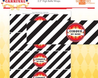 Circus Baby Shower Printable Water Bottle Labels - Cirque du Bebe Drink Wraps Primary Colors - DIY Print - Do-It-Yourself - Instant Download