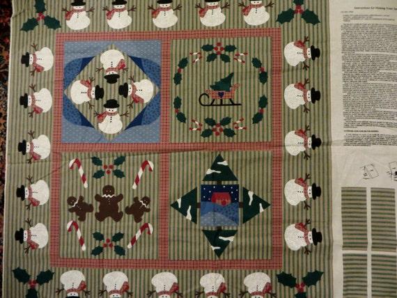 Christmas wall quilt fabric craft panel snowman sampler