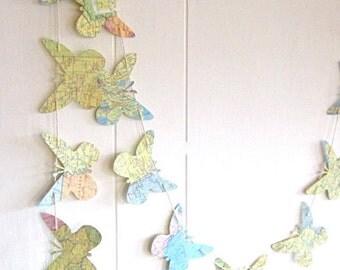 Butterfly Garland, Map Butterflies, Nature Birthday Party,Nature Garland, Butterfly Bedroom, Woodland Wedding, Garland, Banner, Long Garland
