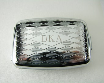 Pill Box Personalized Custom Engraved Diamond Pattern Silver Pill Box -Hand Engraved