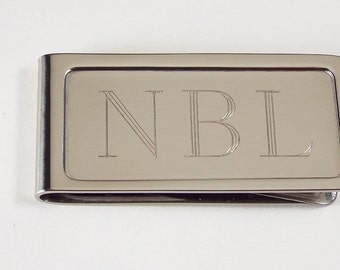 Personalized Custom Engraved Money Clip Sturdy Chrome Plated  - Hand Engraved