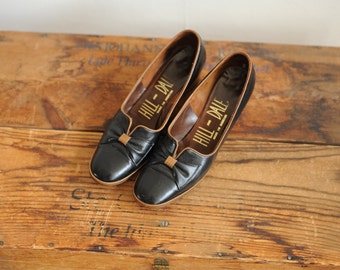 Vintage Hill and Dale Black & Brown Leather Heels, Made in America, Womens 7 / ITEM239