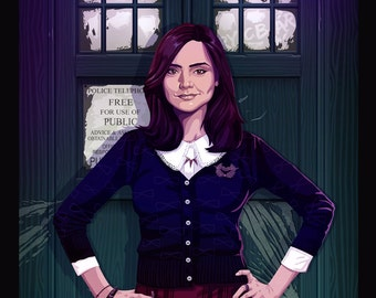 Clara Oswin Oswald Doctor Who Companion War Tardis Original Illustration by Jacob Sparks Painted Poster Print- Three Sizes Available
