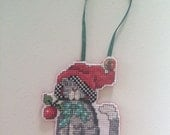 A Cute Christmas Cat Cross Stitch Ornament