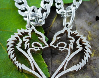 Bear Couples Necklaces that are in a heart shape for Couples, Tribal Jewelry, Hand cut coin, Half Dollar