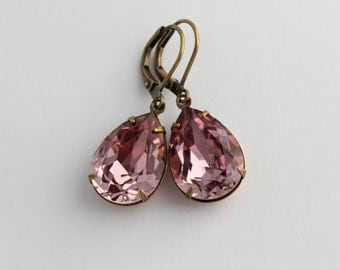 Swarovski Antique Pink earrings, Swarovski earrings, pink earring, dusty rose earrings, bridesmaid earrings, wedding jewelry  SD07