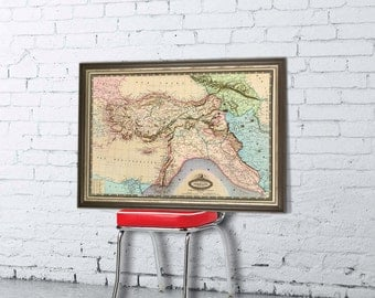 Old map of Turkey , Syria, Liban, Caucasus - Fine print - Restored map