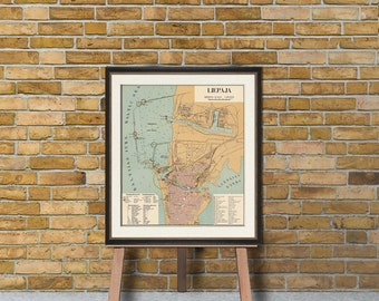 Map of Liepaja - Old  city plan - Restored map fine print