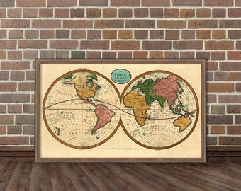 Giclee print - Wall map - World map - Map of the world  archival reproduction  - An antique map from  1799 restored