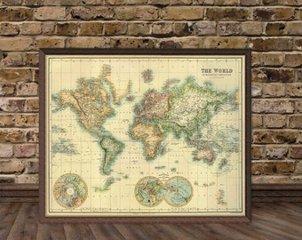 World map - Old map of the world restored -  Wall maps - World maps archival prints
