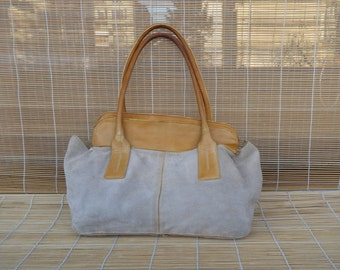 Vintage Lady's 1980's Distressed Two Tone Tan Beige Suede Hand Bag Purse