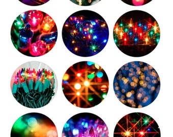 Colorful Lights Bottlecap Images / Festive Warm Colors / Printable Digital Collage 1-Inch Circles / Happy Holidays / Bright Lights / Bokeh