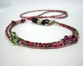 Beaded Lanyard Berry Pink and Green, ID or Key Badge Holder, Eyeglass or Sunglass Leash, Spectacle Chain, Breakaway, Valentines