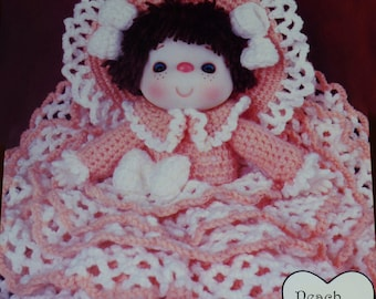 "Instant Download PDF Vintage Eighties 14"" Peach Taffy Crochet Doll Pattern"