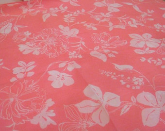 "Vintage Fabric  - Hot Pink & White Flowers - By the Yard x 44""W - 70's - Retro Sewing Material - Craft Supply"