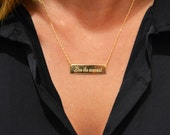 Personalized Rectangle necklace. Personal engraving. available in goldfilled/silver. hand made.