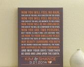 Personalized Wedding Canvas (wedding song, poem, lyric art, first dance lyrics, wedding vows) custom colors