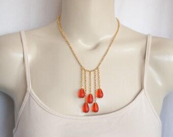 Orange Sea Glass Necklace, Statement Necklace, Orange Bib Necklace, Sea Glass Jewelry, Beach Jewelry, Boho Jewelry, Gold Necklace, Trending