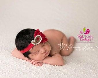 Christmas  Headband - Baby Girl Headbands - Red Headband - Baby Hair bow - Infant Headband - Red Baby Headband - headband baby - Baby bows