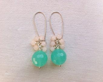Seafoam Earrings/Gemstone Earrings/Cluster Earrings/Bridesmaid Earrings/Gift For Her/ Aqua and Pale Peach Earrings/Pale Blush Earrings