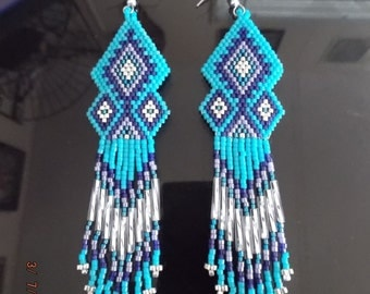 Native American Style Beaded Turquoise Chandlier Earrings Boho, Brick Stitch, Peyote, Southwestern, Gypsy, Hippie, Great Gift Made to Order