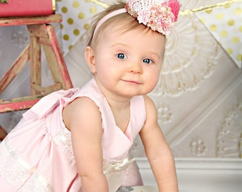 Lace Mini Crown in Pink and Ivory - Mini Crown - Baby Lace Crown - Shabby Chic - Alice in Wonderland